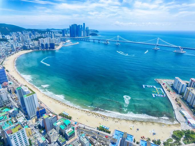 Aeril View of Sunny Summer Gwangalli Beach, Busan, South Korea, Asia..